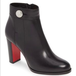 Christian louboutin Janis black leather ankle bootie nwb 39.5
